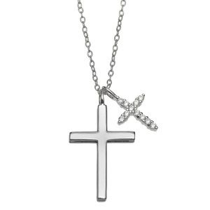 Sterling Silver Double Cross Pendant Necklace